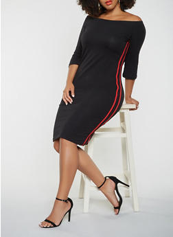 Plus Size Varsity Stripe Off the Shoulder Dress - 3390061639706