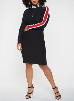 Plus Size Zip Neck Dress - 3390061639725