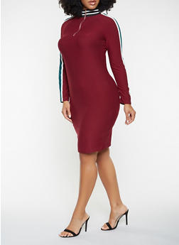 Plus Size Zip Neck Dress - 3390061639725