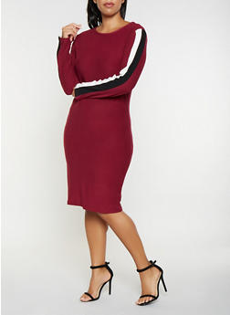Plus Size Striped Sleeve Bodycon Dress - 3390061639726