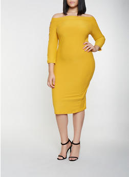 Plus Size Caged Sleeve Off the Shoulder Dress - 3390061639727