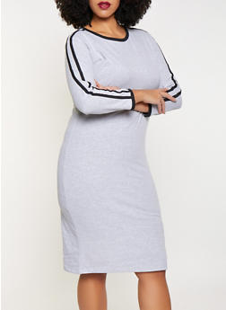 Plus Size Varsity Stripe T Shirt Dress - 3390061639730