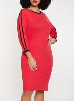 Plus Size Varsity Stripe T Shirt Dress - 3390061639730