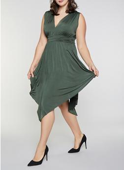 Plus Size Sleeveless Asymmetrical Dress - 3390062122165