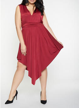 Plus Size Sleeveless Asymmetrical Dress - 3390062122165