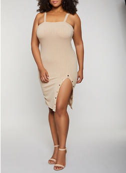 Plus Size Button Detail Ribbed Dress - 3390069392169