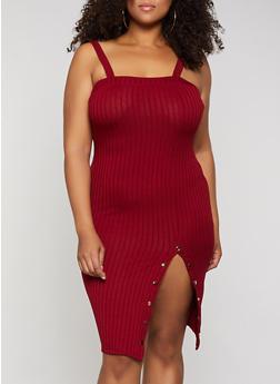 Plus Size Button Detail Ribbed Dress - 3390069392169