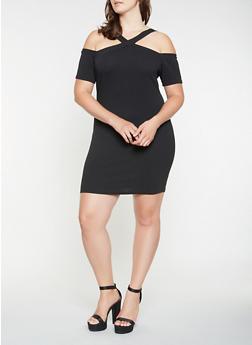 Plus Size Cold Shoulder Bodycon Dress - 3390069393372