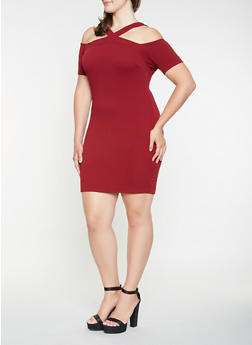 Plus Size Cold Shoulder Bodycon Dress - 3390069393372
