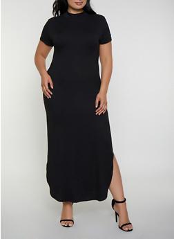 Plus Size Soft Knit Mock Neck Maxi Dress - 3390073372107