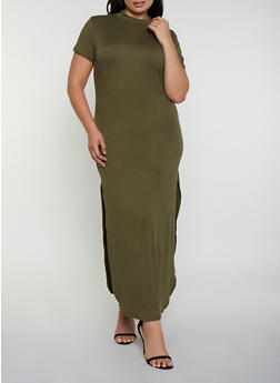 Plus Size Soft Knit Mock Neck Maxi Dress - 3390073372107