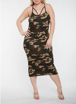Plus Size Caged Camo Bodycon Dress - 3390073372280