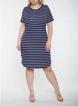 Plus Size Striped T Shirt Dress - 3390073372284