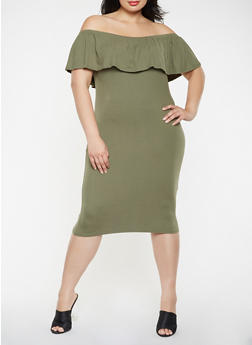 Plus Size Off the Shoulder Midi Dress - 3390073373028