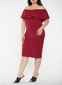 Plus Size Off the Shoulder Midi Dress - 3390073373028