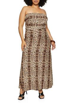 Plus Size Animal Print Tube Maxi Dress - 3390073374073