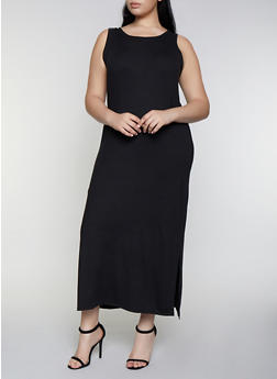Plus Size Solid Side Slit Maxi Tank Dress - 3390073374133