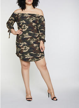 Plus Size Camo Off the Shoulder Dress - 3390073375112