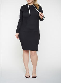 Plus Size Hooded Long Sleeve Dress - 3390073376421