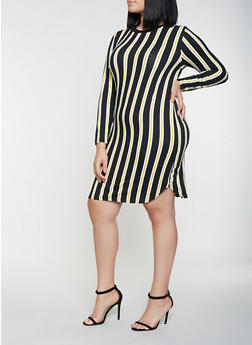 Plus Size Striped Long Sleeve Dress - 3390073376423