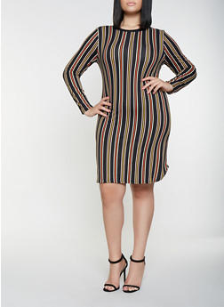 df4e3a6b8a1 Plus Size Striped Long Sleeve Dress - 3390073376424