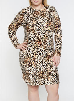 Plus Size Long Sleeve Leopard Print Dress - 3390073378285