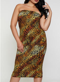 Plus Size Leopard Tube Dress - 3390073378704