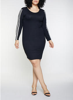 Plus Size Side Stripe Dress - 3390073378788