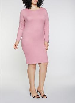 Plus Size Side Stripe Dress - 3390073378788