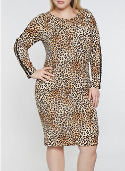 Plus Size Leopard Print Bodycon Dress - 3390073378789