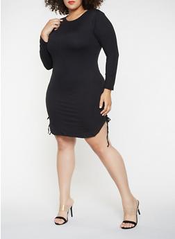 Plus Size Lace Up Side Dress - 3390073379613