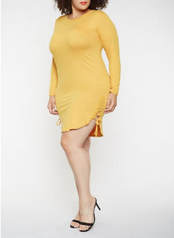 Plus Size Lace Up Side Dress - 3390073379613