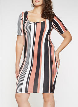 Plus Size Soft Knit Striped Dress - 3390074014302