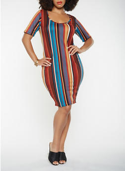 Plus Size Striped Soft Knit Bodycon Dress - 3390074014303