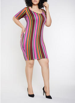 Plus Size Striped Bodycon Dress - 3390074014329
