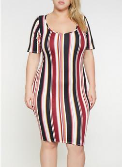 Plus Size Striped Bodycon Dress - 3390074014330
