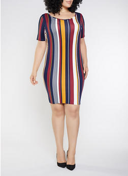Plus Size Striped Bodycon Dress - 3390074014331