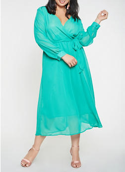 Plus Size Faux Wrap Chiffon Maxi Dress - 3390074280156