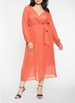 Plus Size Faux Wrap Chiffon Maxi Dress - 3390074280156