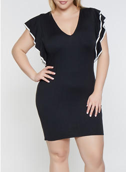 Plus Size Contrast Trim Flutter Sleeve Dress - 3390074280529