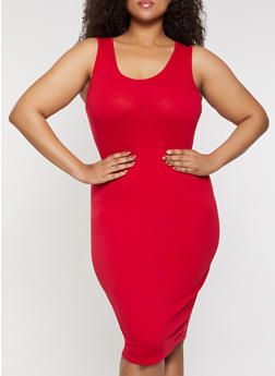Plus Size Solid Midi Tank Dress | 3390074282511 - 3390074282511
