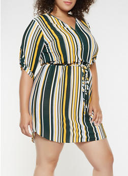 Plus Size Striped Zip Neck Dress - 3390074282803