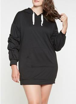 Plus Size Hooded Sweatshirt Dress - 3390074282806