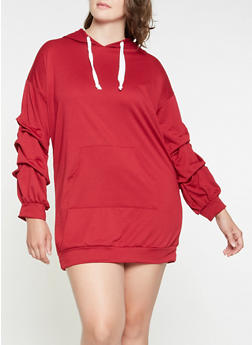 Plus Size Hooded Sweatshirt Dress - 3390074282806