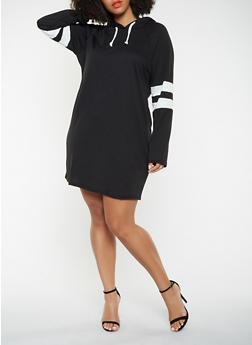 Plus Size Varsity Stripe Sweatshirt Dress - 3390074282807