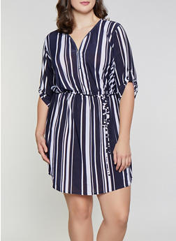 Plus Size Striped Zip Neck Dress - 3390074283803
