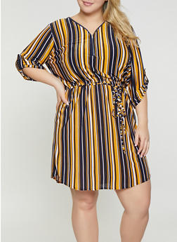 Plus Size Striped Zip Neck Dress - 3390074283803
