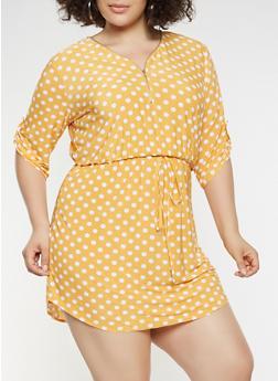 Plus Size Polka Dot Zip Neck Dress - 3390074284803