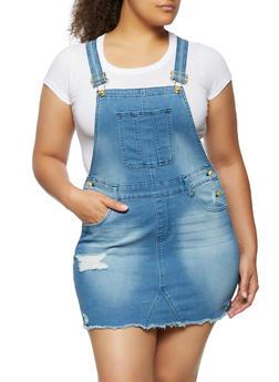 Plus Size Frayed Denim Overall Dress - 3390075170041
