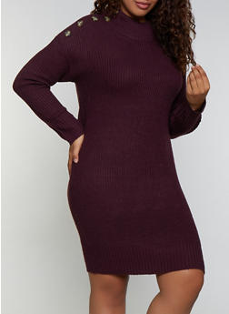 Plus Size Button Detail Sweater Dress - 3390075172093